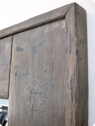 Distressing tutorial via u create. great tips! Two coats of Minwax Jacobean stain and two coats of Minwax Classic Grey stain. And one coat of Fiddes & Sons' wax.