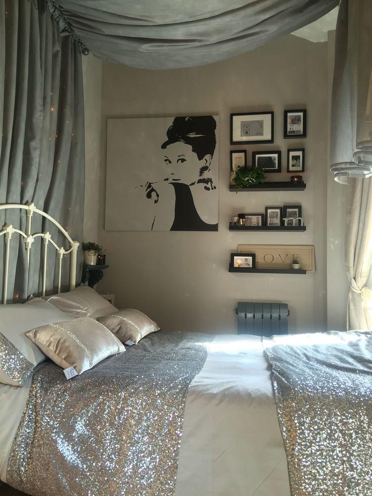 Farrow and ball Elephants Breath teenage girls bedroom. Canopy bed IKEA shelving…