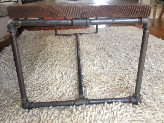 Wood and Metal Pipe Industrial Coffee Table by PipeAndPenny