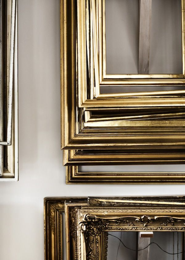 Large Scale Gold Frames & Warm Gray Painted Walls