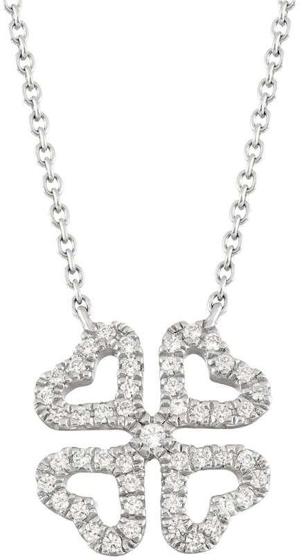 10k White Gold 1/10 Carat T.W. Diamond Four Leaf Clover Necklace