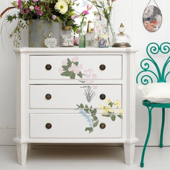 Dab hand at painting? Why not transform an exiting piece of furniture with a beautiful one-of-a-kind motif