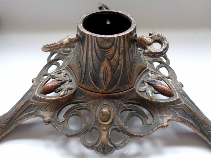 c 1900 Victorian cast iron Christmas Tree Stand, handpainted décor w pine cones #Victorian