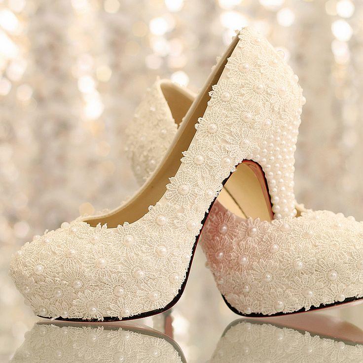 White lace flower wedding shoes WOMEN 10cm pearl bridal shoes princess single shoes US $40.00