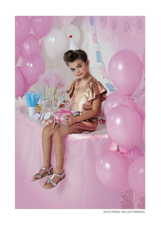 From our editorial - BDAY PARTY Photos: Sofia Riva Stylist: Sabrina Mellace Stylist ass.: Filippo Scrivani. Gucci dress, Gallucci sandals. #bday #party #kidstrend #childrenfashion #style #look #gucci #gallucci #dress #sandals #girl @gucci