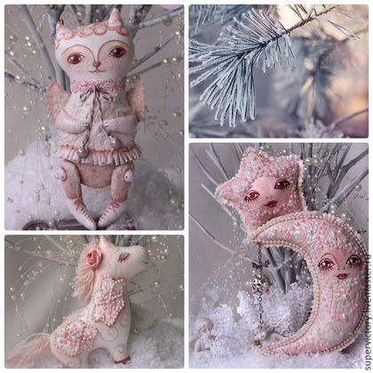 """Набор елочных игрушек """"Зефирное настроение"""" - розовый,звезда,елочные игрушки"""