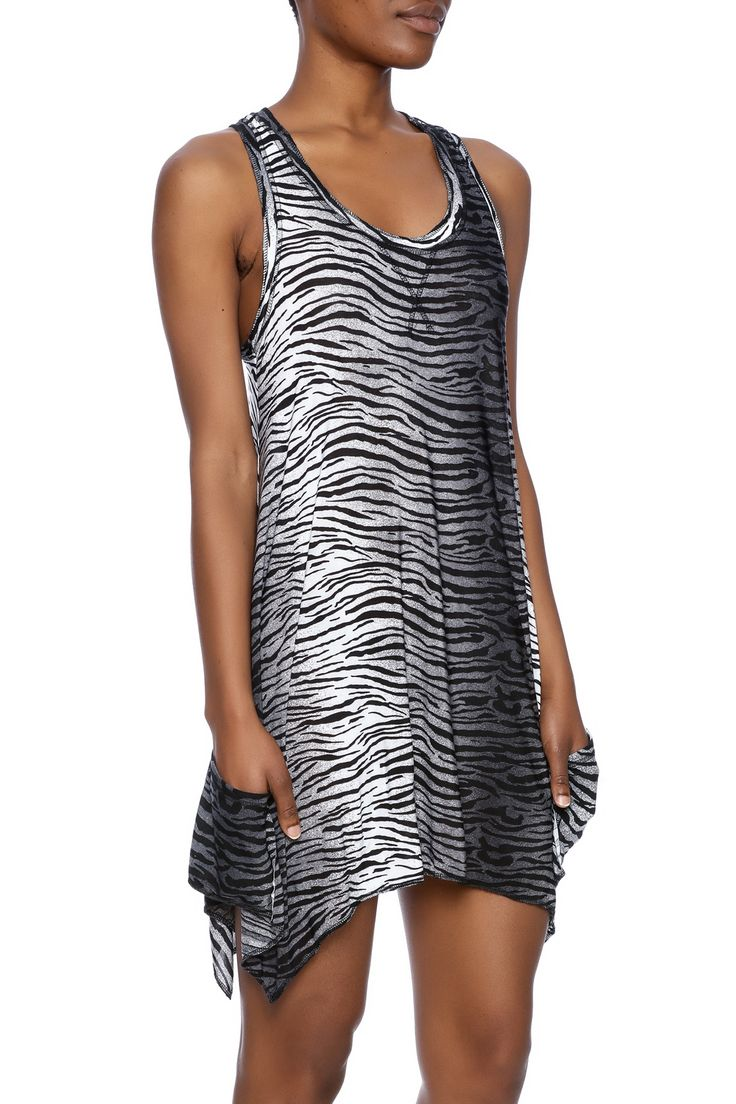 Black and white zebra printed tank dress with a raccer back and front pockets.  Zebra Tunic by Isabella Rodriguez. Clothing - Dresses - Casual Clothing - Dresses - Printed Kentucky