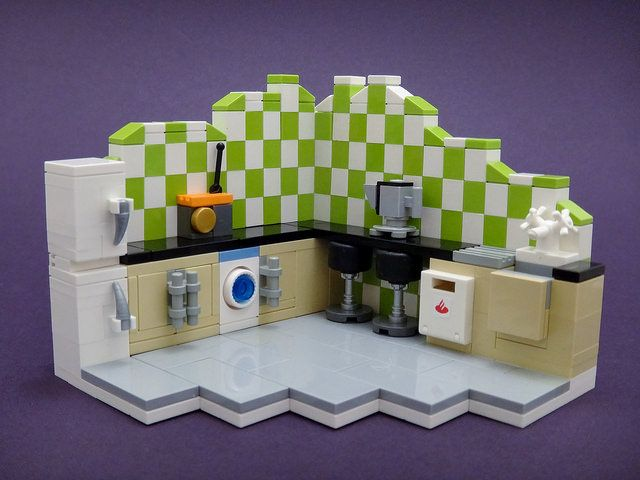 Flickr member simplybrickingit has created this intriguing triptych of LEGO household rooms.