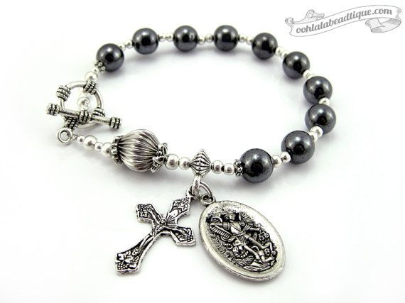 St Michael medal one decade Catholic Rosary by OohlalaBeadtique, $24.00. Love it!