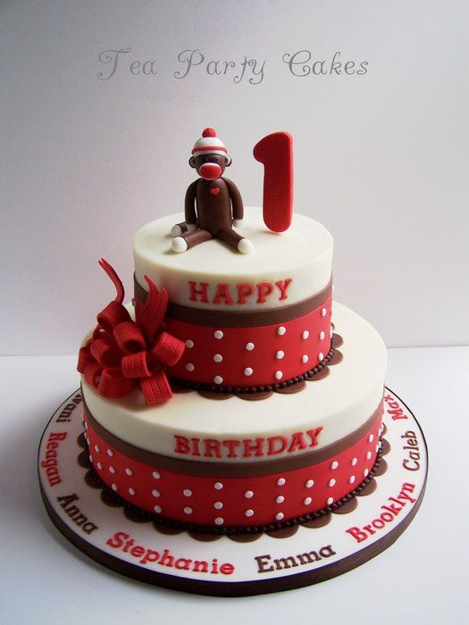 Sock monkey first birthday cake by Tea Party Cakes