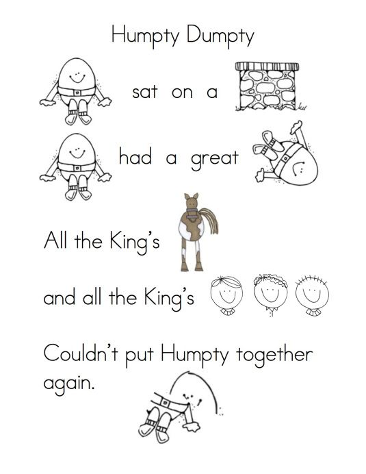 Humpty dumpty + other nursery rhymes--reading/retell/puppets