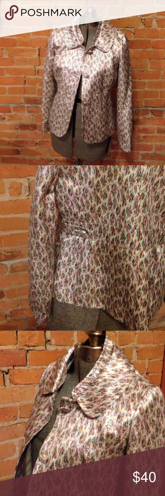 J. Crew Collection Spring Multi Color Shimmer Coat From the J. Crew Collection Spring 09 line. Multi color pattern with green, purple, mustard on a cream base intertwined with shimmery silver. Gorgeous pattern and cut. Reminds me of high, bright fashion you would see in shows like Gossip Girl. Size 8. J. Crew Jackets & Coats