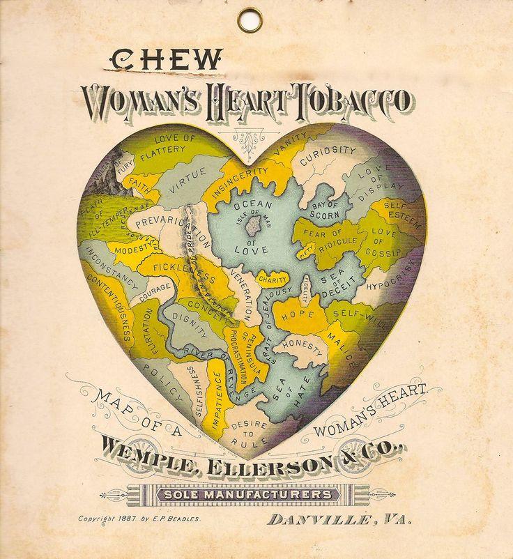 1877: Woman's Heart Tobacco Advertisement (via Retronaut)