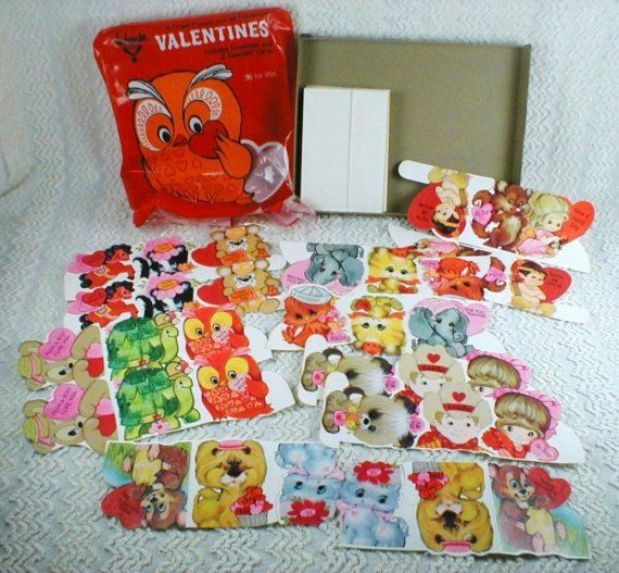 Vintage Valentine Cards Big Eyed Whimsical Animals Andu2026