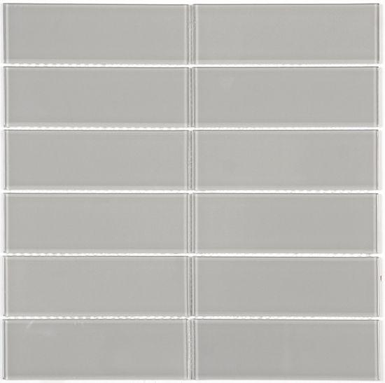 """Colour: Ash Finish: Gloss 29.8cm x 29.8cm x 0.4cm (12"""" x 12"""") Chip size: 4.8 X 14.8 CM (2"""" X 6"""") #Profiletile"""