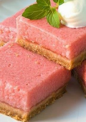 Mouth-​​Watering Watermelon Bars ~ These creamy bars are just the thing to serve after a meal cooked on the grill. Made with watermelon, lemon juice and milk, they're served chilled and and are a refreshing summertime treat!