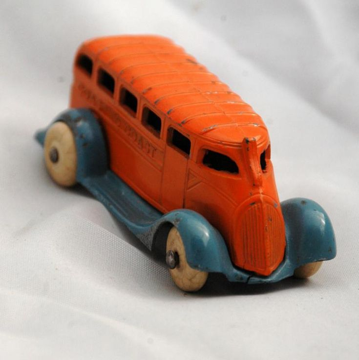 Barclay Toy Coast to Coast Auto Bus Orange and Blue Pre -War Slush Die-cast Very RARE!