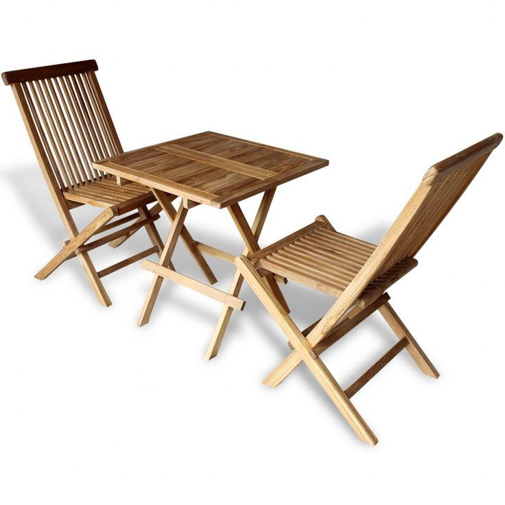 Garden Bistro Set Teak Wooden Table Chairs Folding Patio 400 x 300
