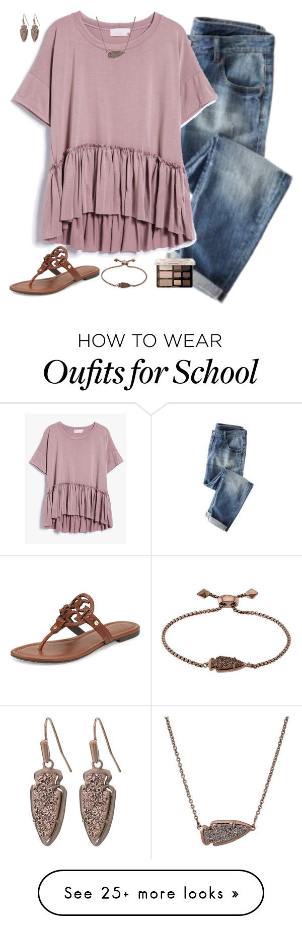 """""""this is bad cause, school........."""" by simplysarahkate on Polyvore featuring Wrap, Too Faced Cosmetics, Kendra Scott and Tory Burch"""