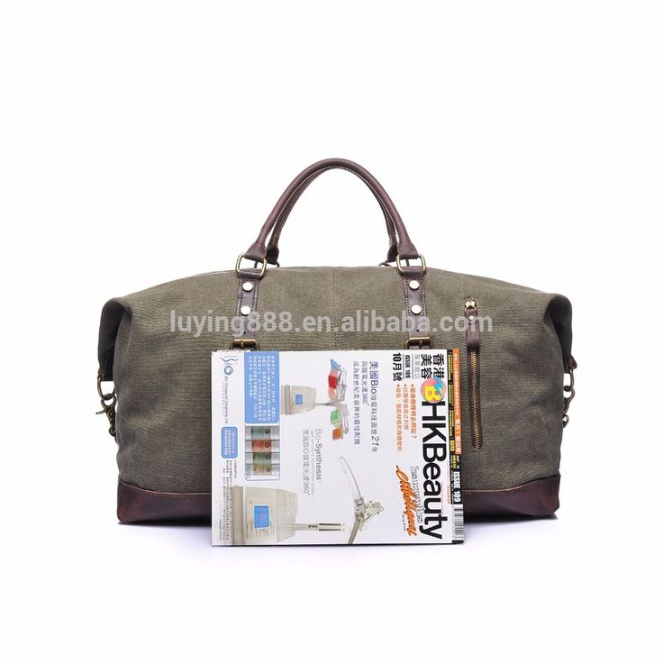 Large capacity vintage leather canvas travel weekender holdall overnight luggage duffle bag for men