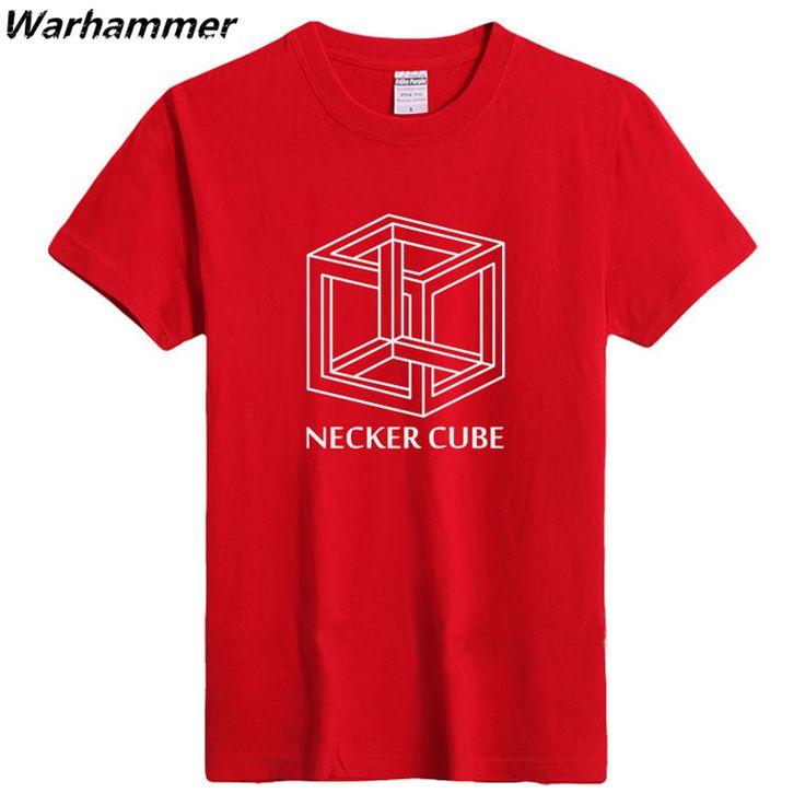 NECKER CUBE T shirt Men GEEK Programmer Cotton Flocking Printed 3D Shirt Easy Fit Big Yard O-neck Good Quality Fashion Tee Shirt