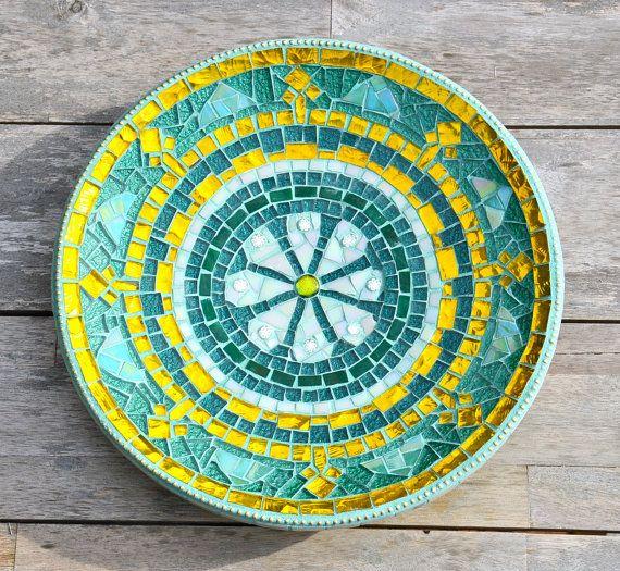 Groen en gouden glas mozaiek  schaal Ravenna ster op Etsy, 72,86 €