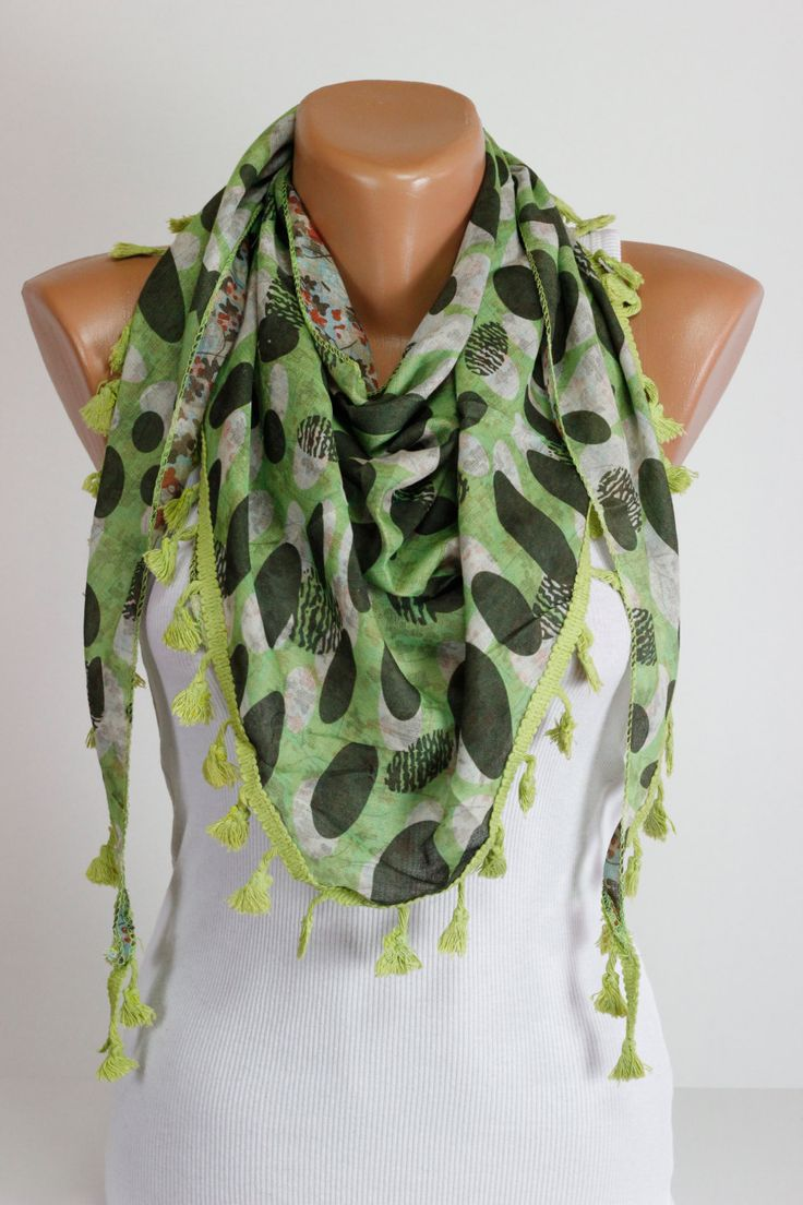 $13.5 Double Face, Green, Yellow, Spotted, Floral Scarf, Scarf, lace Fringe, Women Accessories, 4 Seasons, Silky, Shawl, Wrap, Foulard, Scarves, by echerpe #foulard #giftidea #etsyfinds #etsyfinds #scarves #scarf #style #scarfs #Clothing