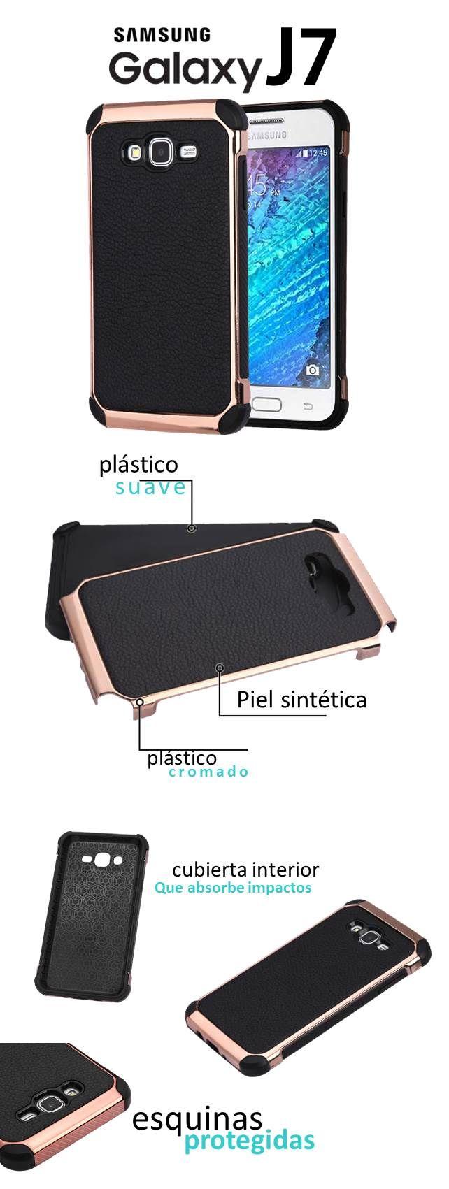 Funda Case Samsung Galaxy J7 Doble Protector De Piel Negro - $ 295.00