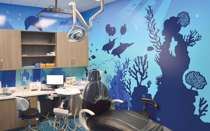 Undersea silhouette murals for Pediatric Dental Treatment Room by Imagination Dental Solutions. A great way to calm kid's anxieties!