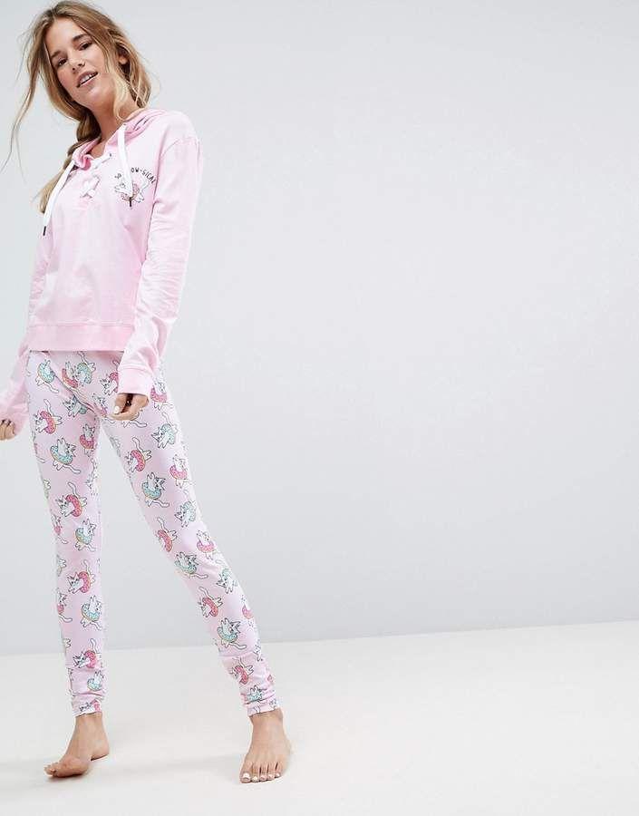 purchase cheap 2ff61 efd0a ASOS – Meow-gical – Schlafanzug aus Kapuzenpullover und ...
