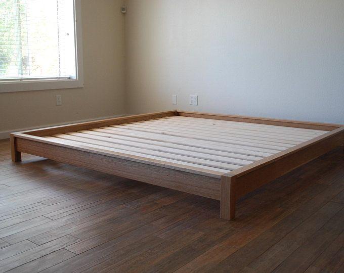 Platform Bed In Walnut Simple Bed Frame Hardwood Twin Full Etsy
