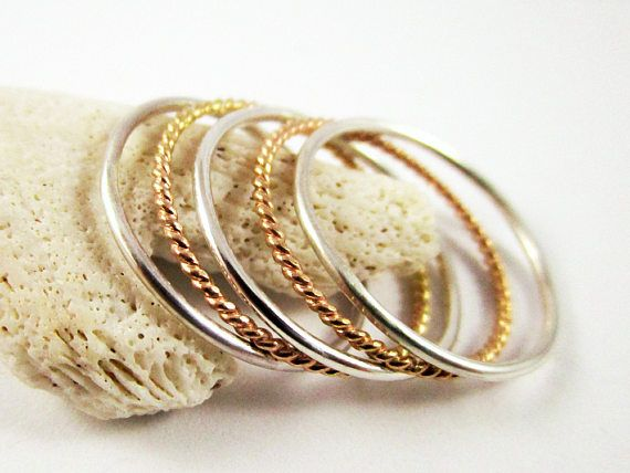 Stacking Ring Set 5 rings Yellow Gold Filled Twisted Ring