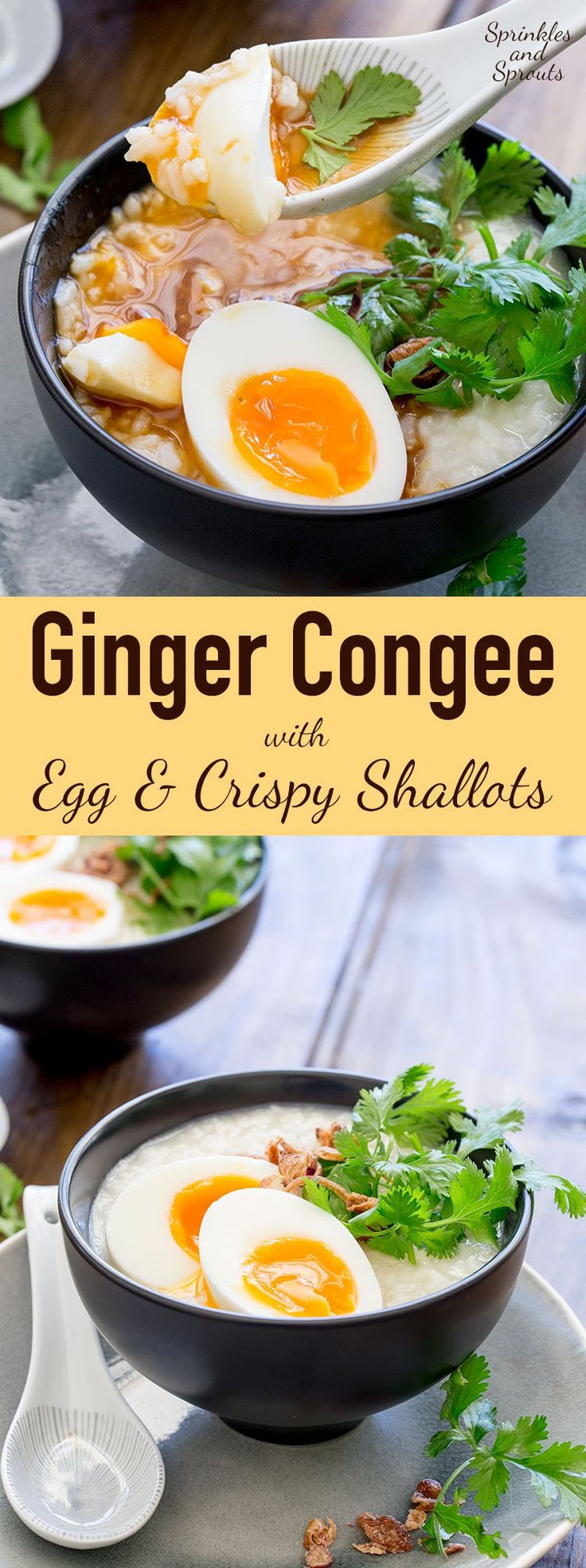Ginger Congee with Egg and Crispy Shallots - This comforting savoury rice dish is a staple across many Asian countries. It is traditionally eaten as a breakfast in China, but it is so good that I love it curled up on the sofa late at night. This is food that feeds your soul as well as your belly. Honestly this just make you feel good!