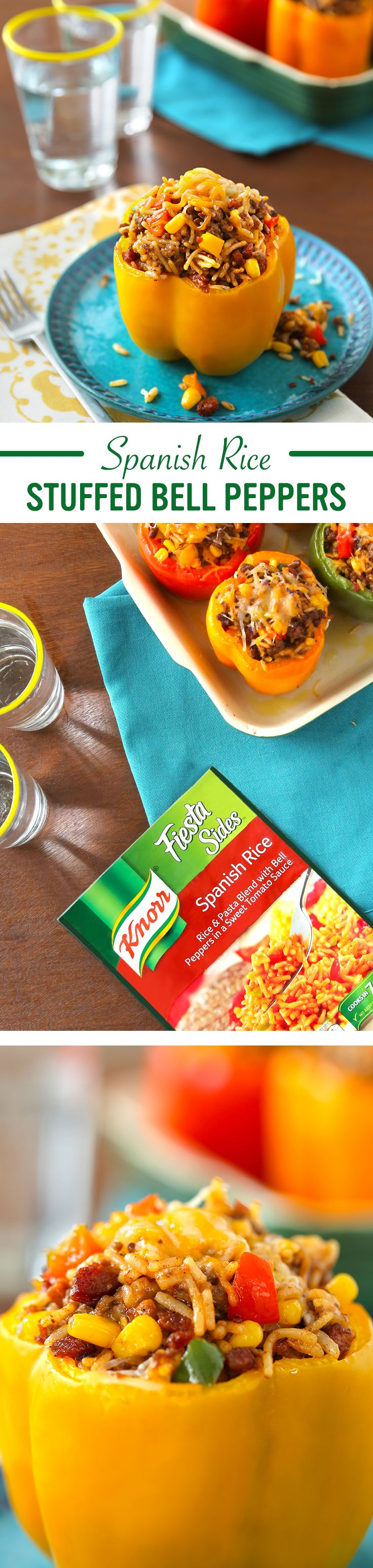 Knorr®'s Fiesta Sides™ - Spanish Rice flavor makes every meal a fiesta for your familia. Prepare this delicious recipe for Spanish Rice Stuffed Bell Peppers tonight: 1. Cook ground beef & chorizo. Add corn 2. Stir in Knorr® Fiesta Sides™ - Spanish Rice 3. Stuff peppers, sprinkle w/ cheese, & bake. Serve & enjoy!