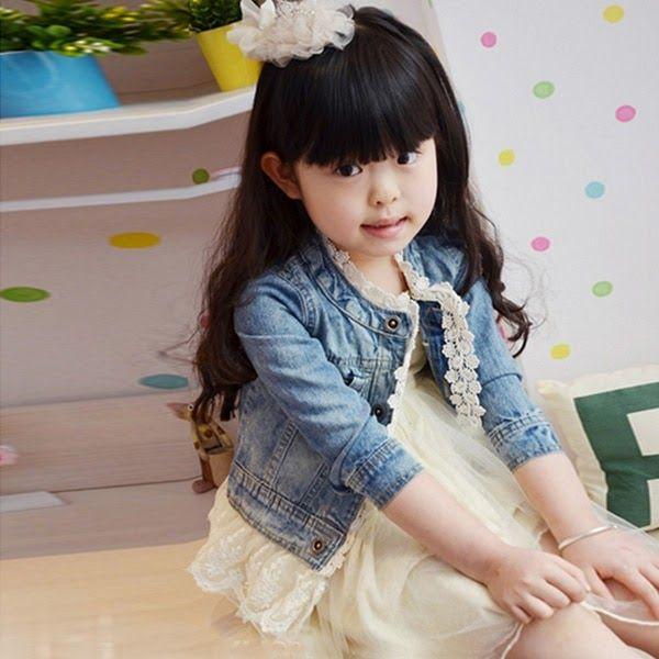 Kids Girls Denim Jackets Lace Jean Jacket for Toddler Girl Button Cowboy Jacket