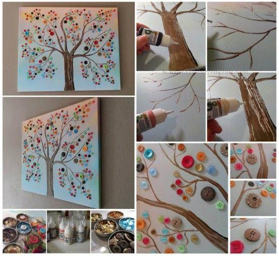 Un progetto semplice e creativo da fare con i bambini. Un albero dipinto con i bottoni, troppo bello! A simple and creative project to do with children. A painted tree with buttons, beautiful!