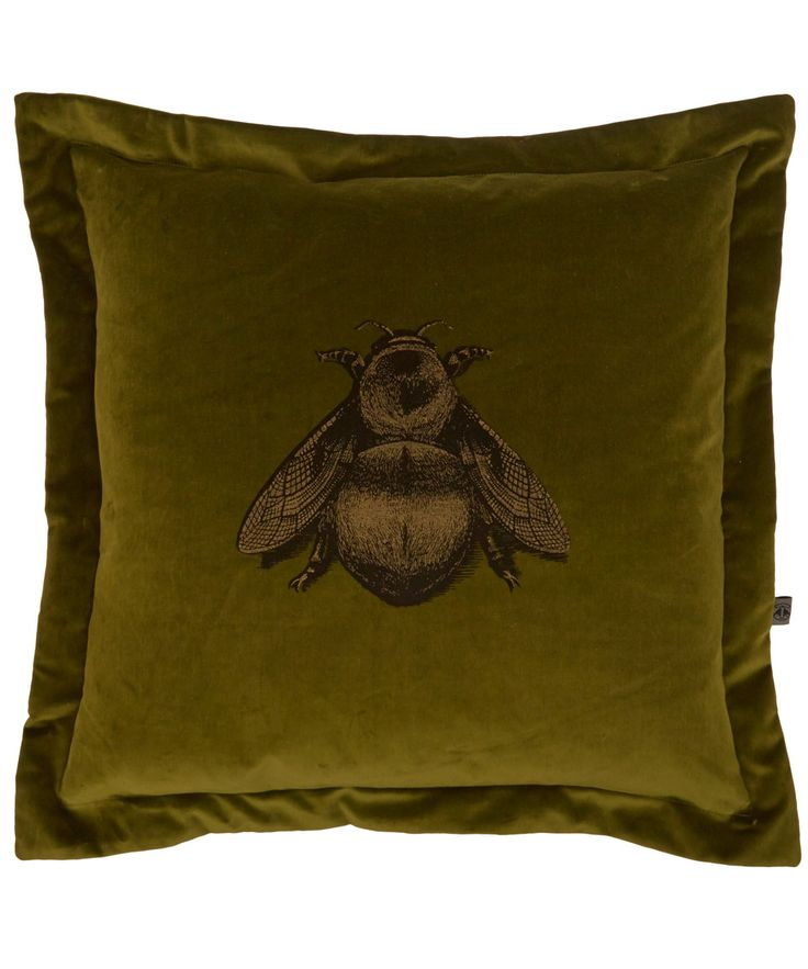 Timorous Beasties's luxurious olive green cushion has an intricate bee print that will sit pleasantly inside the home. #LibertyChristmas #GiftsForHome