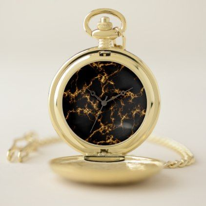 Elegant Marble style3 - Black Gold Pocket Watch - black gifts unique cool diy customize personalize