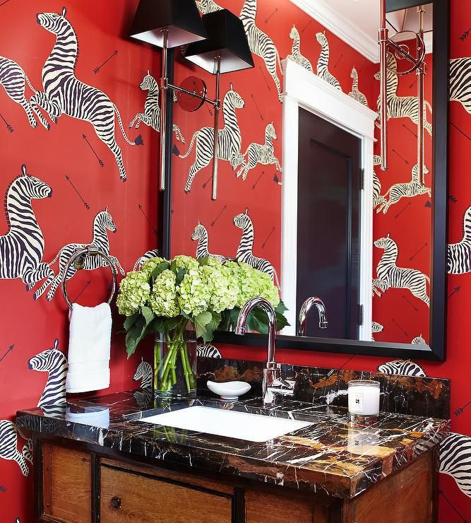Bathroom in Scalamandre Zebras Wallpaper in Masai Red (comes in 11 colors), $134.49 (http://store.lynnchalk.com/scalamandre-zebras-wallpaper-masai-red/)