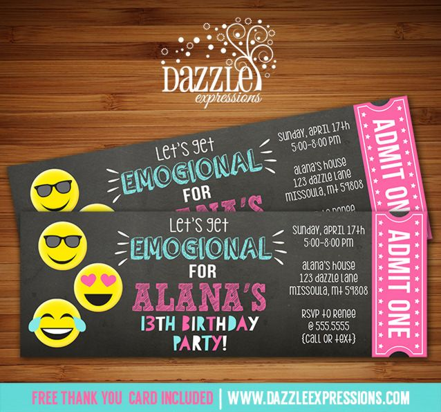 Printable Tween Emoji Chalkboard Ticket Birthday Invitation | Teen Girl  or Teenager Emoticon Party | Show Your Emojions | Smiley Faces | Emogional Invite | FREE thank you card included | Printable Matching Party Package Decorations Available! Banner | Signs | Labels | Favor Tags | Water Bottle Labels and more! www.dazzleexpressions.com