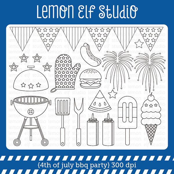 4th of july bbq party digital stamp set comes with grill lit barbeque tools