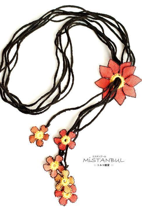 Silk needle lace igne oya necklace pink flower by MiSTANBULcom