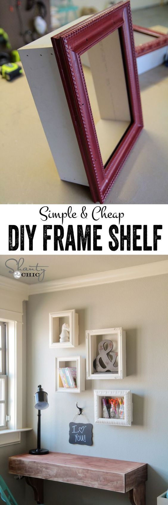 Really cute and simple DIY frame shelves! Look how fun they are! This is such simple project, and a great way to reuse old frames or to dress up cheap frames. #cuteframeshelf #repurposeoldframes #dressupcheapframes