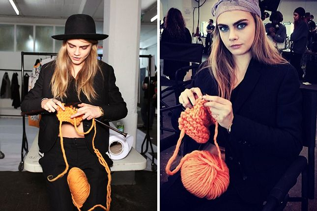 Cara Delevingne: One of the members of Wool and the Gang's gang = Cara D. The supermodel modeled their cartoon beanie at London Fashion Week and took up knitting backstage between shows.