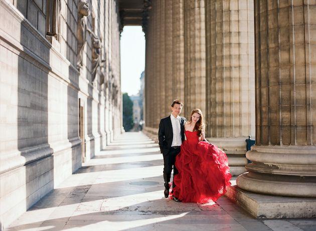 Chic Paris Engagement Shoot Featuring Two Stunning Vera Wang Wedding Dresses