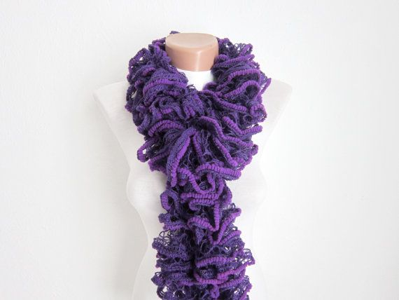 Knit ScarfRuffled ScarfFrilly scarf Ruffled by scarfnurlu on Etsy