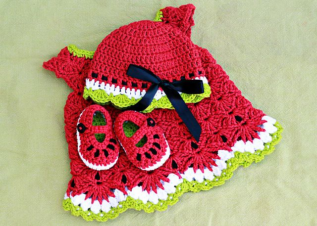 Watermelon Baby Set-   See Notes section for 3 Free Crochet Patterns