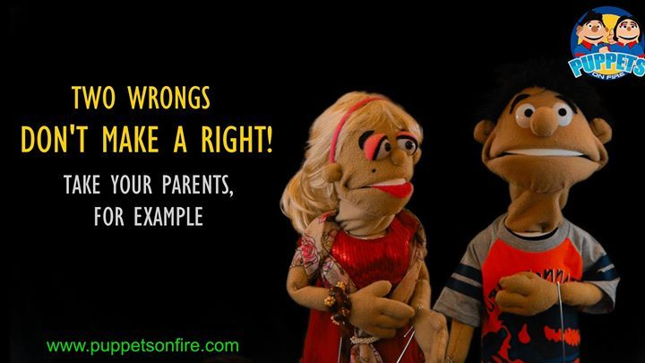 Two wrongs don't always make a right! #twowrongs #funnymemes #meme #joke #oneliner #puppet #funnypuppets http://ift.tt/2mGYExL