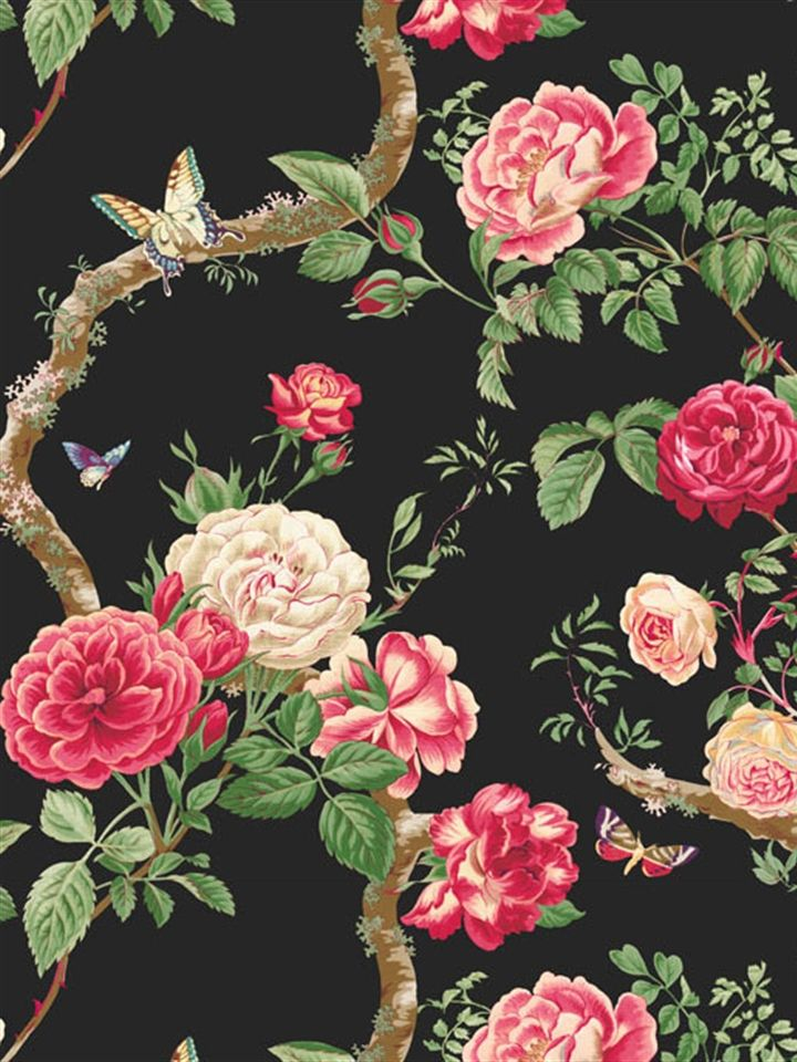 gallery for vintage rose wallpaper black