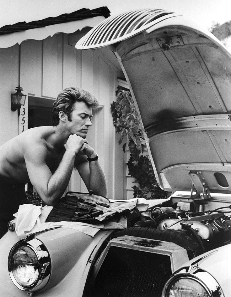Clint Eastwood in 1958 with a Jaguar.